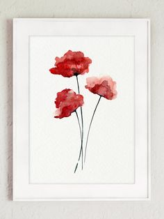 Red Poppy Watercolor Painting, Gifts For Her, Watercolor Home Decor, Floral Poster, Abstract Poppy Art Print