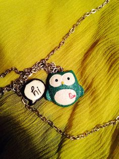Handmade Adorable Sparkly Blue Little Owl Saying Hi by Maddigraphs
