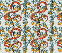 Snake and Orange Trees fabric by diane555 on Spoonflower - custom fabric   ~  I so totally have to make a late 18th Century gown out of this!