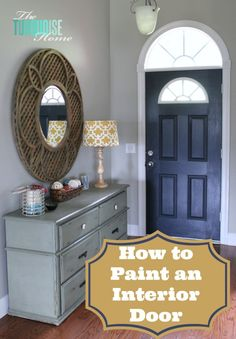 """How to Paint an Interior Door: Hale Navy, Benjamin Moore.  Fabulous mirror, lampshade, wall/door color and dresser.  She the color swatch Lowe's and had them color match it in their Valspar Ultra Paint + Primer semi-gloss.   Walls:  Revere Pewter, Benjamin Moore. Pottery Barn Garden Lattice Mirror. 48"""" diameter"""