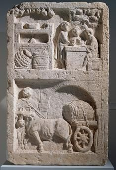 Relief of a tavern scene and the transportation of barrels, detail of a relief from a funerary monument found in Saint Maximin, France. Roman Civilisation, 2nd century.