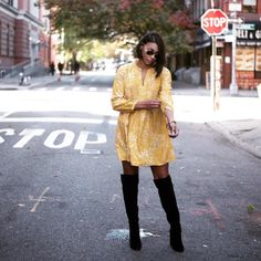 See this Instagram photo by @lovefashionfriends dress and over the knee boots outfit, otn, yellow dress and black boots, short hair outfit, thigh high boots, women's fashion, fall fashion, fall style
