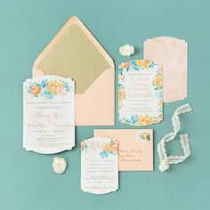 Peach and Gold Wedding Invitations by Pretty Together featuring Watercolor Succulents.