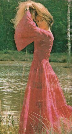 Pink gauze hippie dress 1970s