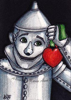 "Oz ACEO Series open edition art print titled ""Tin Man"" by Karen Anne Brady. $1.00, via Etsy."