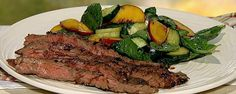 Dry-Rubbed Skirt Steak with Peach Cucumber Salad Recipe | The Chew - ABC.com