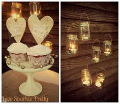 Floating candles, pretty cupcakes, gold glitter, lace, and mini cake stand! DIY by Love Sparkle Pretty.