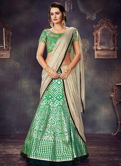ff3ec810bbabb Individualist Green Satin Silk Lehenga Online SFL227. Siya Fashions  Individualist ...