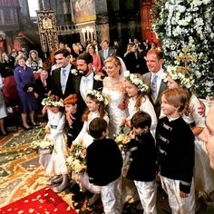 Queen Maxima, Princess Olympia and Princess Beatrice were among royals at the lavish society wedding.