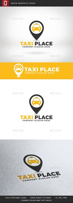 Taxi Place Logo: Object Logo Design Template created by DavidGraphics. Design Taxi, Car Logo Design, Logo Design Template, Logo Templates, Graphic Design, Company Slogans, Company Logo, Automotive Logo, Free Business Cards