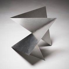 Sculpture by via Geometric Origami, Origami Design, Geometric Art, Abstract Sculpture, Sculpture Art, 3d Model Architecture, Polygon Art, Steel Sculpture, Elements Of Design