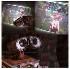 """In WALL-E the musical WALL-E is watching is Hello Dolly! WALL-E also featured several songs from the musical (""""Put on Your Sunday Clothes"""" and """"It Only Takes a Moment""""). Disney Dream, Disney Magic, Disney Art, Disney Movies, Disney Pixar, Wall E, Love Wall, Walle Y Eva, Hello Dolly"""