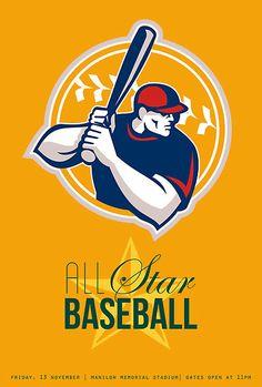 All-American Star Baseball Retro Poster by patrimonio