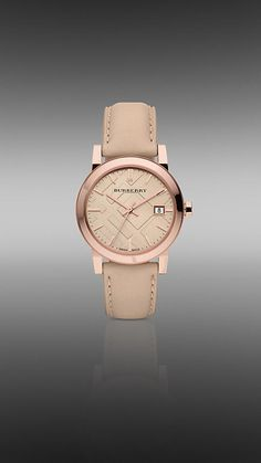 34mm Rose Gold-Plated Watch with Leather Strap | Burberry