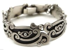 5109 Early Margot de Taxco Linear Serpent Sterling Silver Mexican Bracelet | eBay