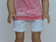 White Denim Shorts - American Girl Doll Clothes