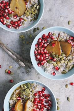 Steel Cut Oats with Roasted Pears + Pomegranate -- so sweet and ...