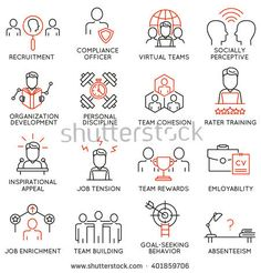 Vector set of 16 icons related to business management, strategy, career progress and business process. Mono line pictograms and infographics design elements - part 49