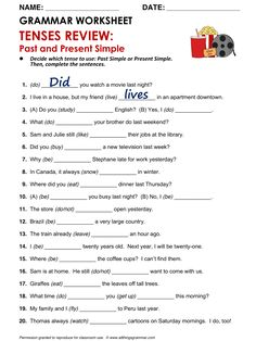 Past Simple and Present Simple Tenses Grammar, Grammar Practice, Teaching Grammar, Grammar And Vocabulary, Grammar Lessons, English Vocabulary, Teaching English, Grammar Review, Verb Tenses