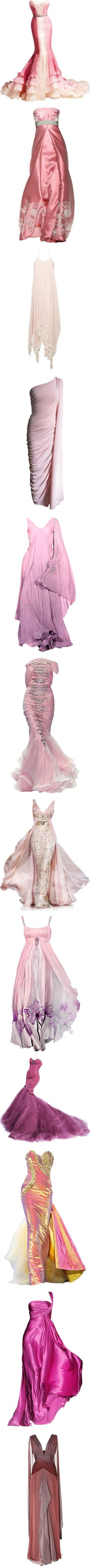 Pink and Purple Gowns by pastora-val on Polyvore featuring women's fashion, dresses, gowns, vestidos, long dresses, versace evening gowns, versace gowns, versace evening dresses, versace dress and satinee