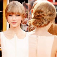 """I'm in love with Taylor Swift's hairstyle (and her dress) from the release of """"The Lorax."""" Image via InStyle. It makes me think I can have pretty options to wear my hair up if i cut my bangs again before my wedding!"""