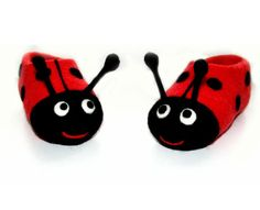Felted kids slippers Ladybirds by Simonascrafts on Etsy, $69.00