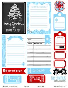 Free printable download with blue and red Christmas journaling elements for project life or other types of pocket scrapbooking. Free for personal use only.