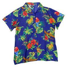 Squish Womens Hawaiian Shirt / Aloha Shirt Dark Blue Jungle & Parrot - Medium - Dark Blue Squish. $22.95