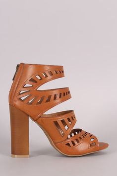 Bamboo Four Strap Cutout Chunky Heel