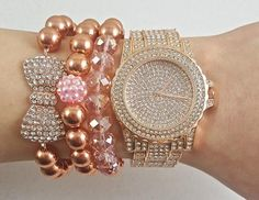 FREE US SHIPPING ! Fast Shipping using First Class MailMost packages arrive in 2-5 business days! Crystal Rose Gold Watch 3 Piece Rose Gold Bracelets  Great Holiday Gift, comes in cute box