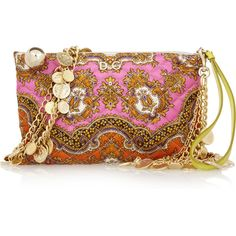 D&G Printed quilted silk-twill clutch ($545) ❤ liked on Polyvore featuring bags, handbags, clutches, purses, accessories, fuchsia, colorful clutches, coin purse, chain strap purse and quilted hand bags