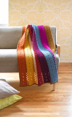 Free pattern: Eyelet Strips Afghan from Lion Brand - a great summer project, the colors are so lively!