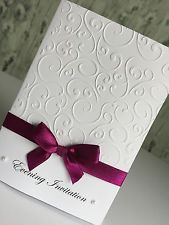 Evening Invitations - Handmade - Personalised - Embossed - diamanté or pearls