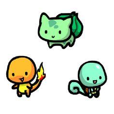 Charmander, Squirtle, Bulbasaur