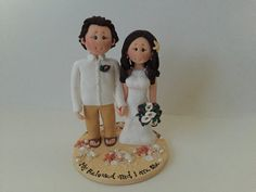 Personalised bride and groom Beach Wedding Cake by ALittleRelic