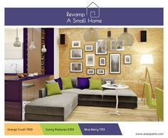 make sure your floor space remains uncluttered, utilise the walls and ceiling to create points of interest - by adding some interesting texture and art on a wall or suspending some unique lighting accessories from the ceiling. Asian Paints, Lighting Accessories, Unique Lighting, Floor Space, Walls, Decor Ideas, Ceiling, Couch, Flooring
