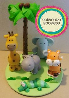Souvenirs Boobledu Polymer Clay Miniatures, Polymer Clay Projects, Handmade Polymer Clay, Safari Birthday Party, Jungle Party, Diy For Kids, Crafts For Kids, Diy Crafts, 2 Baby
