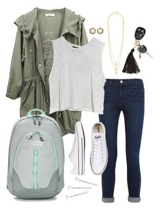 """Tomorrow's OOTD"" by robramey17 ❤ liked on Polyvore featuring Frame Denim, The North Face, MINKPINK, Gorjana, Kendra Scott, Lili Radu, Converse, Conair and rob_schoolstyle"