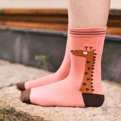 Unisex Giraffe Print Animal Themed Cotton Socks in Pink | DOTOLY