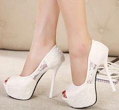 Ladies Sexy Lace Wedding Bride High Heels Open Toe Platform Shoes Stiletto Pumps | Clothing, Shoes & Accessories, Women's Shoes, Heels | eBay!