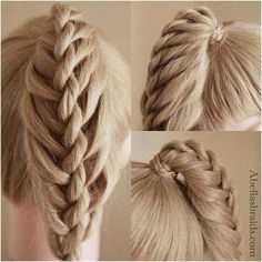 The Twisted Ladder Ponytail...This would be neat, if after you have finished it, you take it and wrap it around the base of the ponytail and created into a bun!