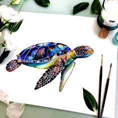 Sea Turtle Painting, Sea Turtle Art, Turtle Love, Sea Turtles, Water Color Turtle, Turtle Outline, Mandala Turtle, Surf Tattoos, Body Art Tattoos