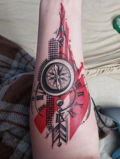 My compas and clock. Done by Jon Elliot at Lock Stock and Barrel Tattoo in Gahanna Ohio