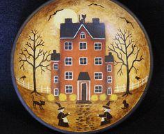 Halloween Folk Art Hand Painted Vintage Primitive by Ravensbend, $24.00