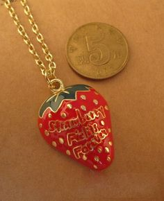 Letter Printed Strawberry Pendant Necklace