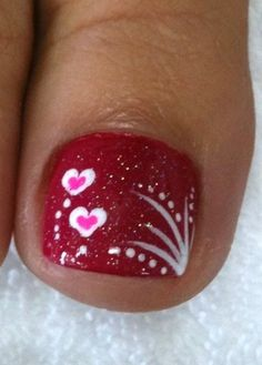 Valentine's Day Pedicure - Red with Hearts...sure cute! I need to get a mani/pedi some time in the near future!