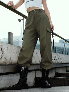 Celmia Casual Outdoors Joggers High Waist Pockets Military Pants is necessary for cold weather, NewChic will show cheap trendy women Pants & Capris for you. Cargo Pants Women, Pants For Women, Clothes For Women, Military Pants Women, Trousers Women, Casual T Shirts, Casual Pants, Capri, Pantalon Cargo
