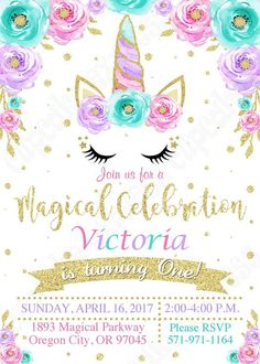 Unicorn Invitation, unicorn party, Magical unicorn invitation, unicorn birthday invitation, 1st birthday, girls first birthday, PRINTABLE Youll receive the UNICORN Birthday Invitation #6 ONLY ====►Invitation◀==== ( you pick format) ►1. 5x7 or 4x6 jpeg for printing on photo paper-or