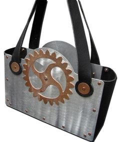 Steampunk Industrial Chic Aluminum, Copper and Black Leather Handbag