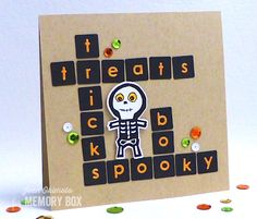 Memory Box Modern Tile Background, Memory Box Alphabet Soup, Open Studio Halloween Sideshow Clear Stamps Set and Dies Set, Imagine Crafts, Jean Okimoto Teacher Halloween Costumes, Halloween Cards, Fall Halloween, Scrabble Cards, Scrabble Tiles, Fall Cards, Xmas Cards, Thanksgiving Greetings, Alphabet Soup